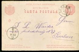 ROMANIA * ROUMANIE * HANDGESCHREVEN CARTA POSTALA * GELOPEN IN 1882 Van BERLAD Naar BERLIN   (11.451s) - 1881-1918: Charles Ier