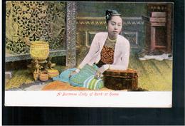 BURMA/ MYANMAR A Burmese Lady Of Eank At Home  Ca 1910 OLD POSTCARD 2 Scans - Myanmar (Burma)