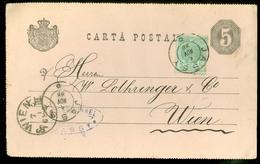 ROMANIA * ROUMANIE * HANDGESCHREVEN CARTA POSTALA * GELOPEN IN 1888 Van JASSY Naar WIEN   (11.451x) - 1881-1918: Charles I