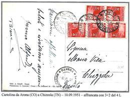 DEMVII°33 -SETTIMO PERIODO 5X4 L DEMOCRATICA SU CARTOLINA DA ARONA A CHIZZOLA -10.9.1951 - 6. 1946-.. Repubblica