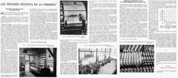 """LES PROGRES RECENTS De La VERRERIE """" Faconnage De La Fibre De Verre En Produits Ouvrés """" 1947 ( 7 ) - Technical"""