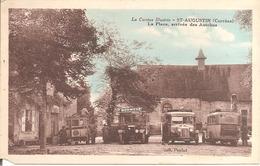 RARE - ST-AUGUSTIN (19) La Place , Arrivée Des Autobus En 1936 (Petit Manque Angle Inférieur Gauche) - Autres Communes