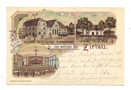 """NIEDER-SCHLESIEN - ZIRLAU / SWIEBODZICE, Lithographie, Vergnügungs-Etablissement """"Zum Weissen Bär"""" - Schlesien"""