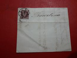 España Antiguo Documento Con Sello Reina Y Matasello Carreta Barcelona - Cartas