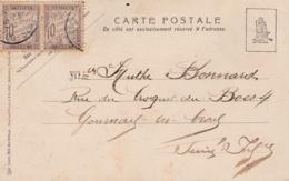 Paire Taxe Banderole 10c  Sur Carte Postale De 1905 - Lettres Taxées