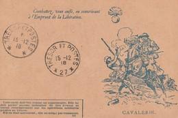 """""""COMBATTEZ VOUS AUSSI, EN SOUSCRIVANT A L'EMPRUNT DE LA LIBERATION"""" - L'EFFIGIE DE LA CAVALERIE - CARTE EN FRANCHISE - - Patriotiques"""