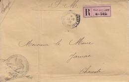 L.CHARGEE&-RECOMMANDEE En SM De ROCHEFORT / Mer / 29.9.16-> Jarnac/29.*9.+ Cachet De Cire Etsceau Des Troupes Coloniales - Marcophilie (Lettres)