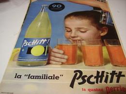 ANCIENNE PUBLICITE   SODA  LIMONADE PSCHITT QUALITE PERRIER 1958 - Affiches