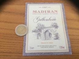 étiquette De Vin «MADIRAN - Guilhemborde - GPVG - RISCLE (32)» 1997 - Madiran