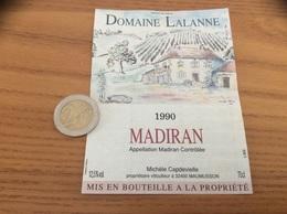 étiquette De Vin «MADIRAN - DOMAINE LALANNE - Michèle Capdevielle - MAUMUSSON (32)» 1990 - Madiran