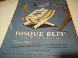 ANCIENNE PUBLICITE CIGARETTE GAULOISE DISQUE BLEU   1958 - Tabac (objets Liés)