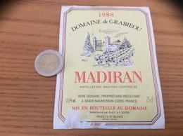 étiquette De Vin «MADIRAN - DOMAINE De GRABIEOU - RENÉ DESSANS - MAUMUSSON (32)» 1988 - Madiran