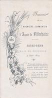 AYMÉE DE VILLECHAIZE 1891 FAIRE PART COMMUNION - Communion