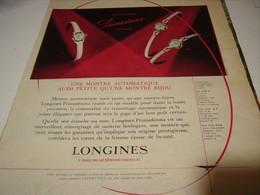 ANCIENNE  PUBLICITE MONTRE AUTOMATIQUE LONGINES  1958 - Bijoux & Horlogerie