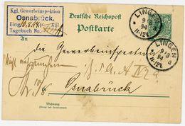 """""""Kgl. Gewerbeinspektion Osnabrück"""" Krone Adler Postkarte 1894 Aus Lingen Nach Osnabrück - Ganzsachen"""