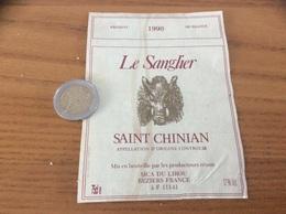 Etiquette De Vin « SAINT-CHINIAN - Le Sanglier - SICA DU LIROU - BEZIERS (11)» 1990 - Languedoc-Roussillon