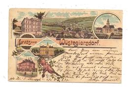 NIEDER-SCHLESIEN - WÜSTEGIERSDORF / GLUSZYCA, Lithographie 1898, 5 Ansichten, Rechter Rand Beschnittem - Schlesien