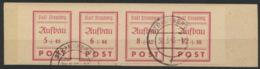 Strausberg 37/37B Vierferstreifen Auf Unterlage O - Sowjetische Zone (SBZ)