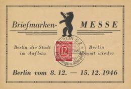 Gemeinschaftsausgaben 919 Auf Sonderkarte Briefmarkenmesse Berlin 1946 - DDR