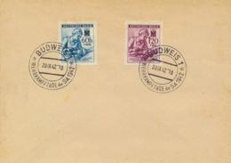 B�hmen Und M�hren 111/12 Auf Untertlage Sonderstempel Budweis - Boemia E Moravia