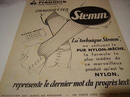 ANCIENNE PUBLICITE CHAUSSETTE STEMM LAINES DU PINGOUIN 1950 - Habits & Linge D'époque