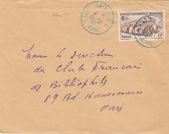 LETTRE COTE D'IVOIRE. 6 2 52. TAMPON BLEU ABENGOUROU. POUR PARIS - Côte-d'Ivoire (1892-1944)