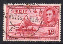 Fiji GVI 1938-55 1½d Carmine, Die II (with Canoeist), P.13½, Used, SG 252 - Fiji (...-1970)