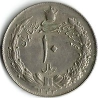 1 Pièce De Monnaie 10 Rials 1963 - Iran