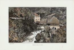 1902 - Phototypie Couleur - Ouhans (Doubs) - Moulin De La Source De La Loue - FRANCO DE PORT - Vieux Papiers