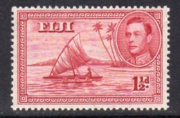 Fiji GVI 1938-55 1½d Carmine, Die II (with Canoeist), P.14, MNH, SG 252b - Fiji (...-1970)