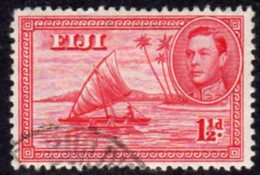 Fiji GVI 1938-55 1½d Carmine, Die II (with Canoeist), P.12, Used, SG 252c - Fiji (...-1970)
