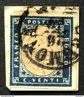 Sardegna 20 Cent Annullo Lombardo Veneto Cremona 26/10 - Sardegna