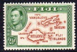 Fiji GVI 1938-55 2½d Brown & Green, Die II (with 180), P.14, Hinged Mint, SG 256 - Fiji (...-1970)