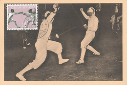 D35551 CARTE MAXIMUM CARD 1958 LIECHTENSTEIN - FENCING ESCRIMÉ CP ORIGINAL - Fencing