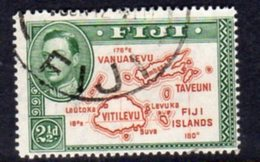 Fiji GVI 1938-55 2½d Brown & Green, Die II (with 180), P.14, Used, SG 256 - Fiji (...-1970)