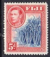 Fiji GVI 1938-55 5d Blue & Scarlet, P.12½, Hinged Mint, SG 258 - Fiji (...-1970)