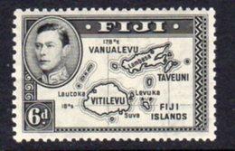 Fiji GVI 1938-55 6d Black, Die I (without 180), P.13x12, Hinged Mint, SG 260 - Fiji (...-1970)