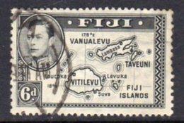 Fiji GVI 1938-55 6d Black, Die I (without 180), P.13x12, Used, SG 260 - Fiji (...-1970)
