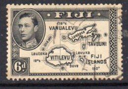 Fiji GVI 1938-55 6d Black, Die II (with 180), P.13½, Used, SG 261 - Fiji (...-1970)