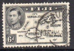 Fiji GVI 1938-55 6d Black, Die II (with 180), P.12, Used, SG 261b - Fiji (...-1970)