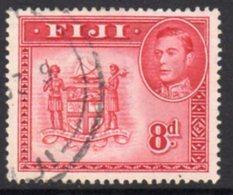 Fiji GVI 1938-55 8d Carmine, P.13, Used, SG 261d - Fiji (...-1970)