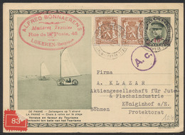 """EP Au Type 50ctm Vert Képi Surcharge 40ctm Rouge De Lokeren Vers Königinhof (Böhmen) + Censure """"A.c"""" / De Panne - Cartes Postales [1934-51]"""