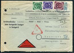 ALLEMAGNE FEDERALE - N° 14 + 15 + 17 + BIZONE N° 70A / LETTRE CONTRE REMBOURSEMENT DE STUTTGART LE 14/2/1952 - TB - Lettres & Documents