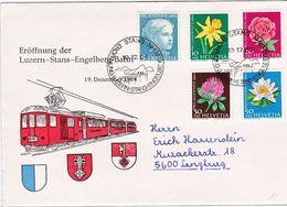 Schweiz Suisse 1964: Zu PJ 205-209 Mi 803-807 Yv 738-742 ERÖFFNUNG LUZERN-STANS-ENGELBERG-BAHN 19.12.64 - Trains