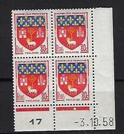 """FR Coins Datés YT 1182 """" Armoiries De Toulouse """" Neuf** Du 3.10.58 - 1950-1959"""