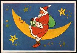 B8717 - Glückwunschkarte - Weihnachten - Weihnachtsmann Mond Sterne - Kerstman