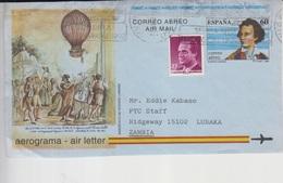 Spain Hot Air Balloon Aerogram Only Front, Stamps     (Red-2516) - 1931-Hoy: 2ª República - ... Juan Carlos I