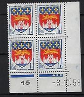 """FR Coins Datés YT 1183 """" Armoiries De Bordeaux """" Neuf** Du 3.10.58 - 1950-1959"""