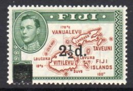 Fiji GVI 1941 2½d On 2d Surcharge, Hinged Mint, SG 267 - Fiji (...-1970)