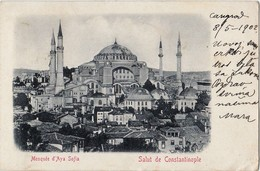 TURKEY - CONSTANTINOPLE, MOSQUEE D`AYA SOFIA , OESTERREICHISCHE POST OFFICE 20 PARA - Turchia